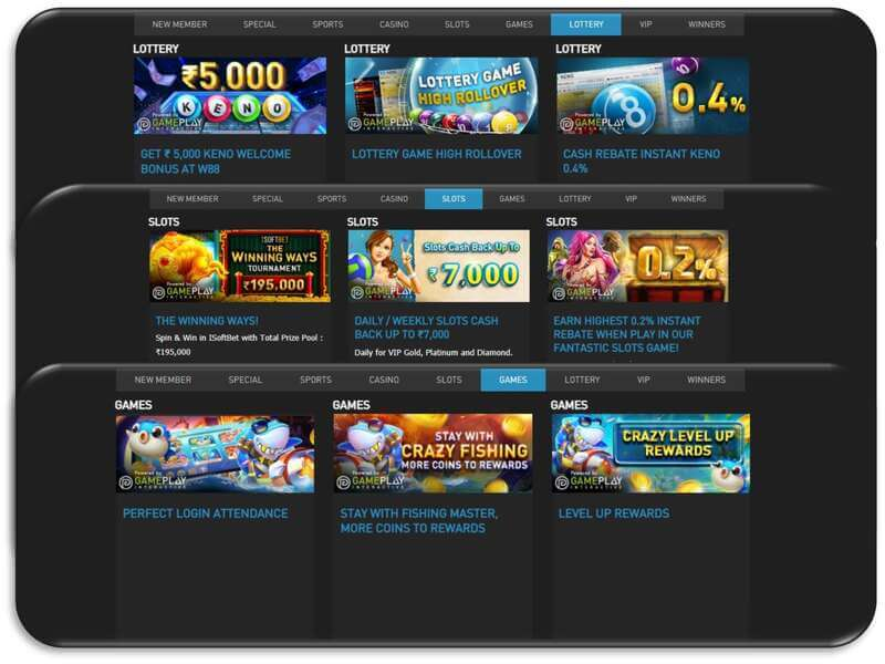 More Promos and rewards Available with W88 OnlineMore Bonuses and Rewards Available with Promotion W88 - Lottery-Slots-Games